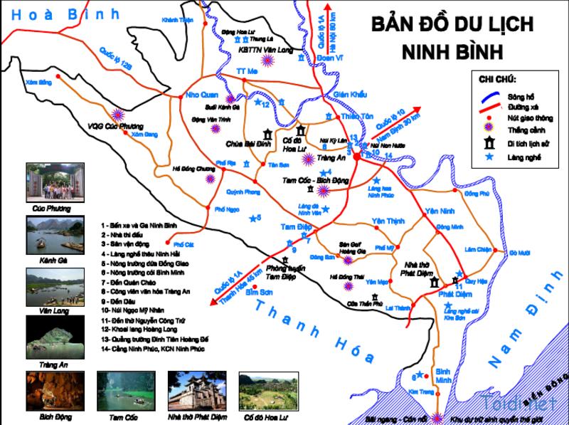 Bản đồ du lịch tỉnh Ninh Bình